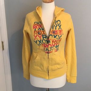 Yellow Roxy Zip Up Hoodie